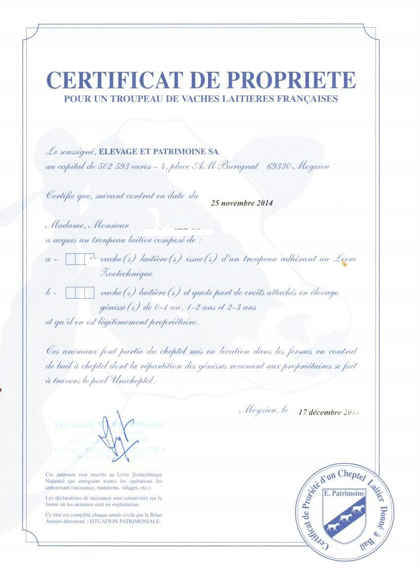 Certif propriete X vaches